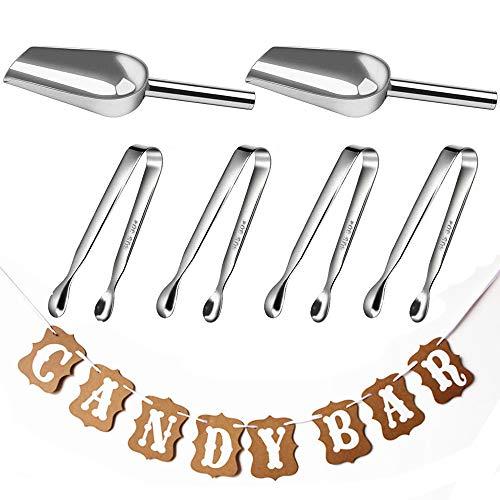 ZesNice Candy Bar Zubehör, 4 Stücke Zangen und 2 Stücke Schaufel und Girlande, Zangen Candybar, Zuckerzange, Eisschaufel, Eiswürfelzange für Hochzeit Party