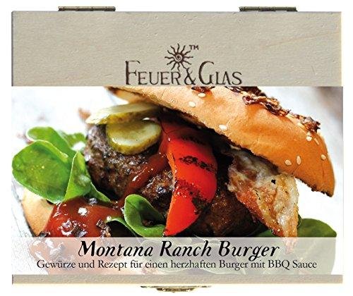 Montana Ranch Burger – 8 Gewürze Set für einen feurigen Burger (55g) – in einem schönen Holzkästchen – mit Rezept und Einkaufsliste – Geschenkidee für Feinschmecker von Feuer & Glas