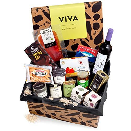 Präsentkorb 'Viva' mit spanischen Delikatessen   Dekorative Geschenk-Box mit ausgewählten spanischen Spezialitäten   perfekt als Geschenk
