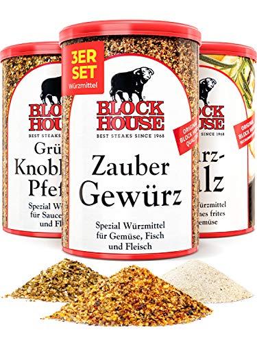 Block House Gewürze zum Grillen Grillset - Würzsalz 500g Zaubergewürz 280g Grüner Knoblauch Pfeffer 200g