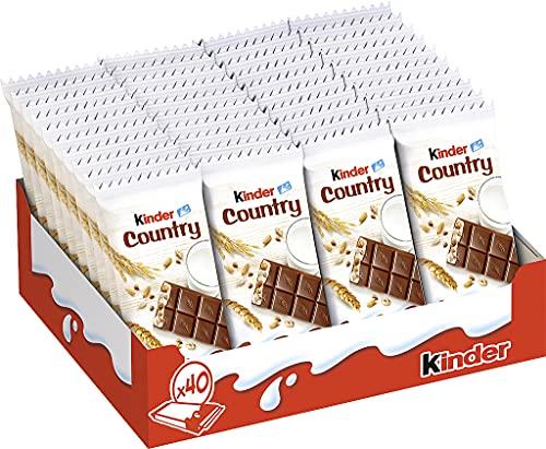kinder Country - Sondergröße mit 40 Einzelriegeln, Schokoriegel aus Vollmilchschokolade mit gerösteten Cerealien und einer Füllung aus feiner Milchcreme