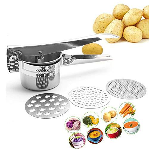 Nuluxi Rostfreier Edelstahl Kartoffelpresse Kartoffel Spätzlepressen Edelstahl Kartoffel Masher Ricer Küchenhelfer und Kochzubehör Geeignet für Cremiges Kartoffelpüree Kartoffelbrei Gemüse und Früchte