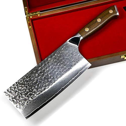 Stallion Damastmesser Ironwood Chinesisches Kochmesser 17,5 cm - Messer aus Damaststahl mit Griff aus Eisenholz in Edler Geschenkbox