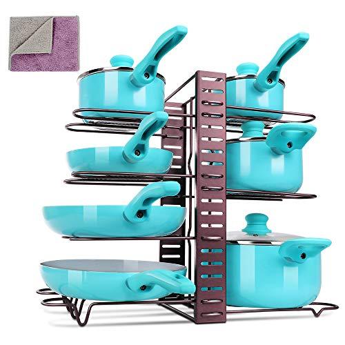 MASTERTOP Pfannenhalter Verstellbar-3 DIY Methoden Pfannen Organizer, Topfregal mit 8 Verstellbare Fächer für Küchenschrank,Pfannen,Töpfe, Deckel-Aufbewahrung mit 1Doppelseitige Tücher