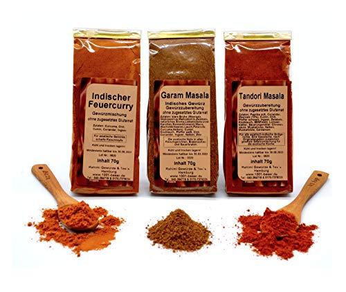 1001 BASAR Indisch Gewürz Set | Garam Masala | Tandori Masala | Indischer Feuercurry | indische Gewürze | Gewürzset | Tandoori | indische Gewürzmischung | Tandoori Chicken