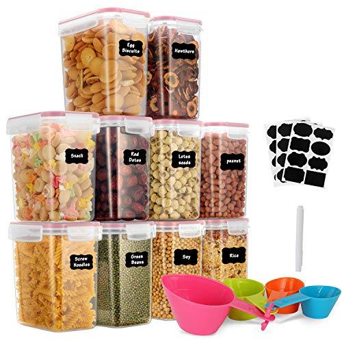 GoMaihe 1.6L Vorratsdosen 10 Set, Aufbewahrungsbox Küche Luftdicht Behälter aus Plastik Mit Deckel, Vorratsgläser zur Aufbewahrung Nudeln, Müsli, Reis, Mehl, und für Futter Haustiere, Rosa, MEHRWEG