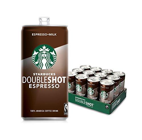 Starbucks Doubleshot Espresso, Erfrischendes Kaffee Kaltgetränk zum Mitnehmen, 12er Pack (12 x 200 ml)