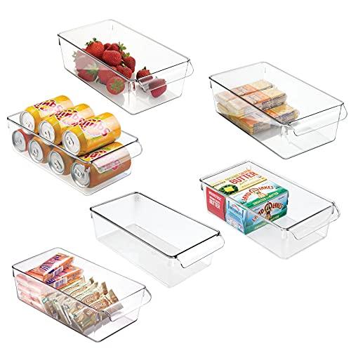 mDesign 6er-Set Aufbewahrungsbox mit Griff aus Kunststoff (groß) – ideal zur Küchen Ablage, im Küchenschrank oder als Kühlschrankbox – durchsichtig
