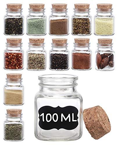 Gewürzgläser Eckig mit Korken 100ml - 12er Set mit Etiketten - Luftdicht - Kleine Gläser mit Deckel