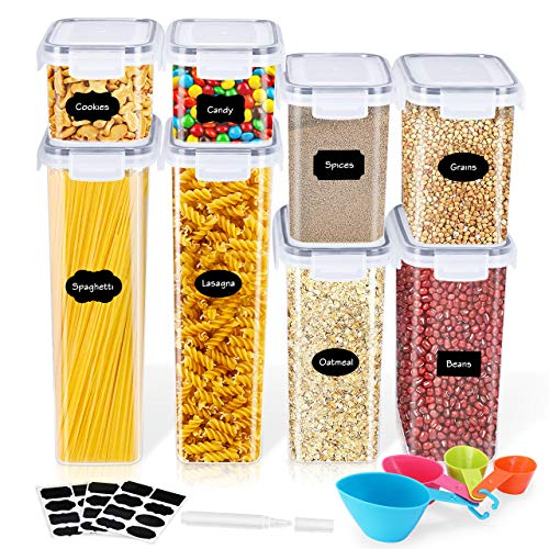 Gifort Vorratsdosen Set Frischhaltedosen für Lebensmittel 8 teilige Set, mit luftdichtem Deckel aus Kunststoff, BPA-frei Küche Lebensmittelbehälter Aufbewahrungsbox mit Löffel, Etiketten & Marker