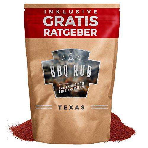 BBQ Rub 'Texas' 270g   Trockenmarinade für Pulled Pork & Spareribs inkl. Gratis Ratgeber   Gewürzmischung Grillgewürz Barbecue Marinade Grill Gewürz