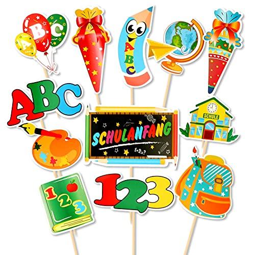 HOWAF 12pcs Schulanfang Cupcake Topper Dekorationen für Einschulung Tortendeko Schuleinführung Kuchen Dekorationen Fondant Muffins Zucker, für Junge Mädchen 1. Schultag Schulanfang Party Deko