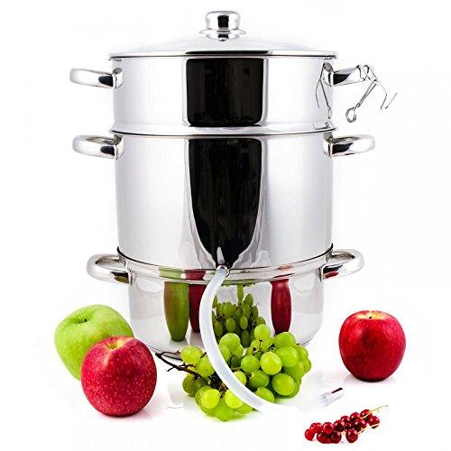 Grafner 8,5 Liter Dampfentsafter aus Edelstahl, Durchmesser Ø26cm, mit Ablasshahn und Glasdeckel, induktionsgeeignet, ideal für Saft und Gelee, Fruchttopf Entsafter Obstpresse Obst Gemüse entsaften
