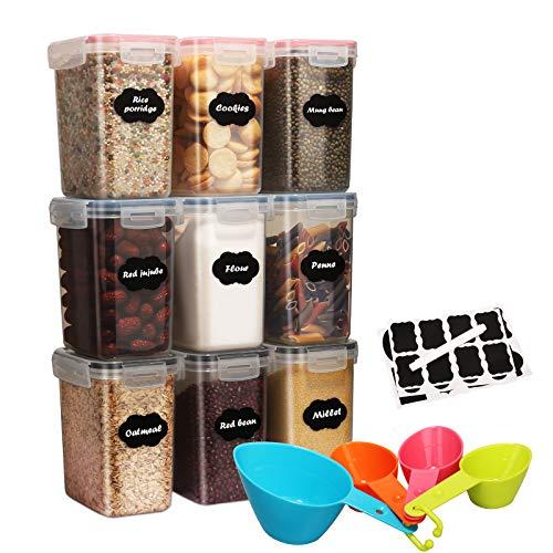 1.6L Vorratsdosen Set, 9 Stück Aufbewahrung Küche Stapelbar Luftdich, BPA Frei Kunststoff Vorratsgläser zur Aufbewahrung Getreide,Nudeln, Mehl, und Zucker, 1 Tafelmarkierung, 24 Etiketten & 4 Löffel