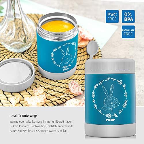 reer Edelstahl-Warmhalte-Box ColourDesign für Baby-Nahrung mit praktischem Anti-Rutschboden, 300ml, blau