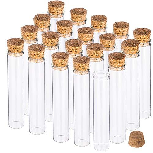 BENECREAT 25PCS 25ml Reagenzglas mit Korkstopfen Klare Flache Mini-Glasflaschen Gläser für Labor, Partyartikel, Süßigkeiten, Kaugummi, Gewürze, Perlen