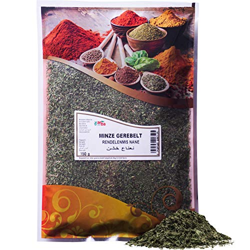 Arba Gewürze - getrocknete Minze (gerebelt) - Feine Minzblätter zum Würzen von Speisen, für Minz-Tee, Cocktails oder Marinaden, erfrischendes Aroma, Deutsche Produktion, Premium-Gewürz (150g)