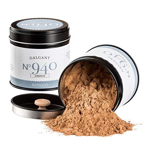 Rimoco N°940 Bio Galgant gemahlen - blumig leicht pfeffrig & süßlich   Galgantwurzel Pulver gemahlen aus Laos   in eleganter Gewürzdose mit Aromadeckel   Inhalt: 40g