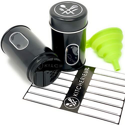 Kitcherieur 12 Gewürzdosen Set Schwarz + Etiketten + Einfülltrichter mit Sichtfenster und Variablem Streueinsatz - 200 ml Vorratsdosen, Gewürzstreuer, Spice Jars zur Aufbewahrung von Gewürzen - Leer