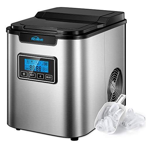 Eiswürfelmaschine Edelstahl, 13kg/28lbs 24h, 6 Minuten Produktionszeit, 3 Eiswürfel-Größen, 2.3L, LCD Display, Selbstreinigungsfunktion, Kealive Eiswürfelbereiter, Leise Ice Maker ohne Wasseranschluss