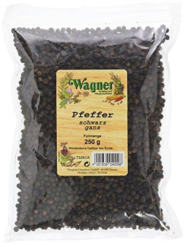 Wagner Gewürze Pfeffer schwarz ganz, 1er Pack (1 x 250 g)