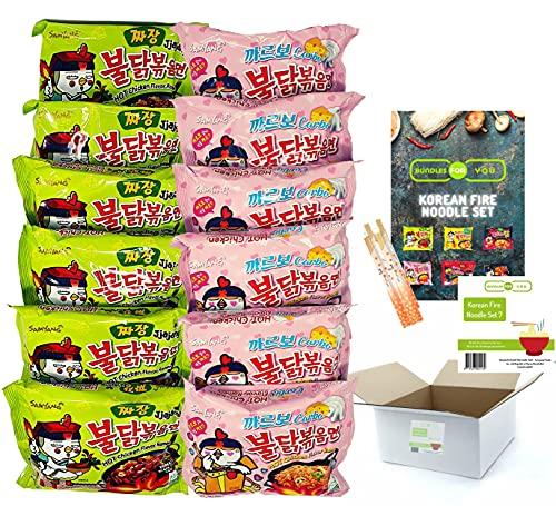 BUNDLES FOR YOU - Samyang Hot Ramen Noodles - Vorteilspack (12x140g) 6 statt 5 Portionen pro Sorte - Korean Fire Noodle Set 7