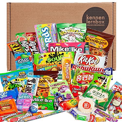 Giant Box | Kennenlernbox mit 40 beliebten Süßigkeiten aus USA und Korea | Geschenkidee für besondere Anlässe wie zum Geburtstag