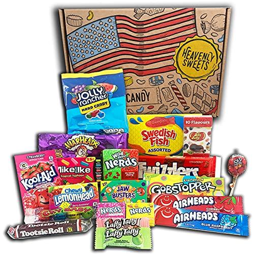Süßigkeiten Amerikaner - 100% vegetarischer Snack und Süßigkeitenschachtel - Klassisches USA-Markenset, leckere Leckereien, perfektes Geschenk für Kinder, Erwachsene - Geburtstag, Weihnachten, Ostern