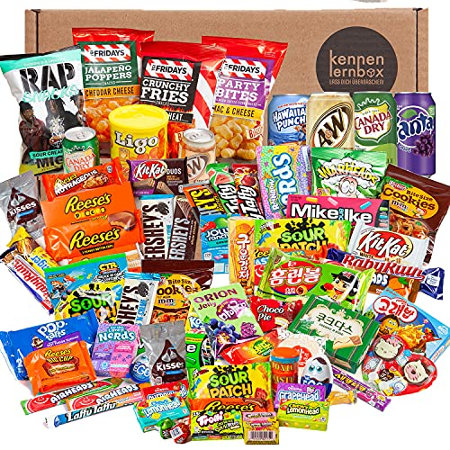 Holy Sweet Box   Kennenlernbox mit 75 beliebten Süßigkeiten aus USA und Korea   Geschenkidee für besondere Anlässe wie zum Geburtstag