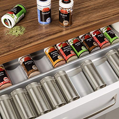 ORGA-BOX® Gewürzgläsereinsatz Gewürzdoseneinsatz / 513 x 28 x 473 mm/silbergrau/für Blum 60er Korpusbreite
