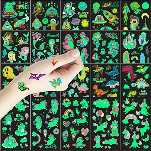 Tattoo Kinder 20 Glitzer Blätter Temporäre Tattoos für Kinder, im Dunkeln leuchten Aufkleber für Einhorn und Meerjungfrau Dinosaurier-Aufkleber und Platz Set für Mädchen Kindergeburtstag Party
