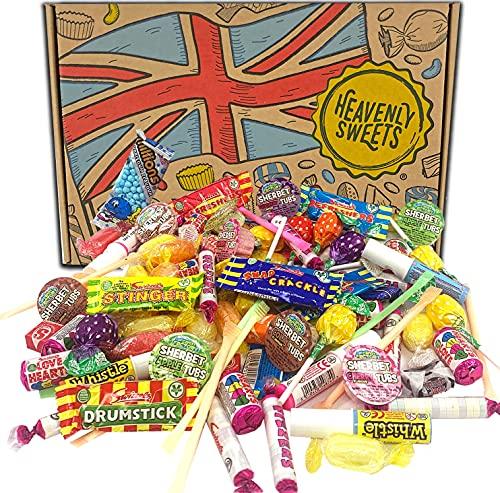Heavenly Sweets 100% vegane Süssigkeiten-Box - Vegan, ohne Milch - Britische Auswahl an Millions, Swizzels, Herzen, Starburst - Geschenkset mit Party-Candy - Grosspackung mit ca. 100 Leckereien