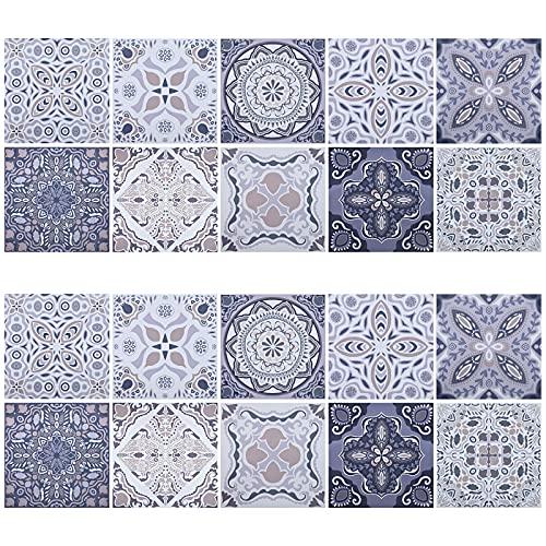20 Stück Fliesenaufkleber Mosaik, 20 x 20cm Wandfliesen Aufkleber, PVC Selbstklebende Fliesen Sticker Boden Aufkleber, Wasserdicht Fliesen Fliesenaufkleber für Bad Wohnzimmer Küche Deko