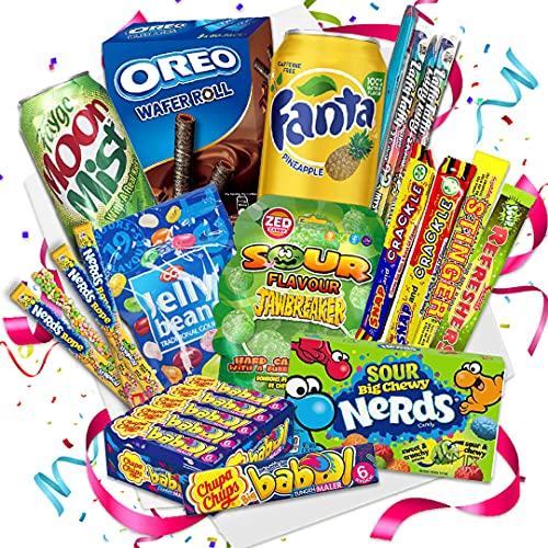 QueenBox® England Süßigkeiten Box | UK Kennenlernbox 12 Teile - Candy Mix inkl. Getränke – Peanut – Chupa Chups & Süssigkeiten aus aller Welt