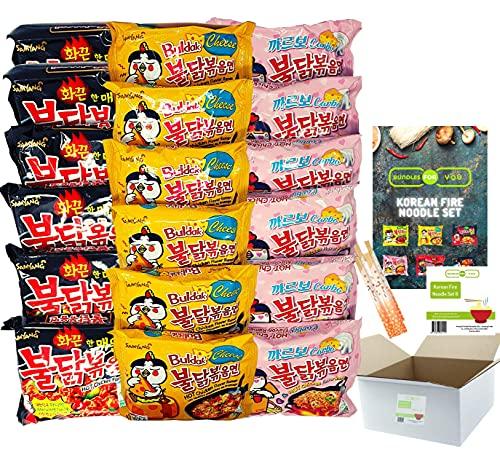 BUNDLES FOR YOU - Samyang Hot Ramen Noodles - Vorteilspack (18x140g) 6 statt 5 Portionen pro Sorte - Korean Fire Noodle Set 6