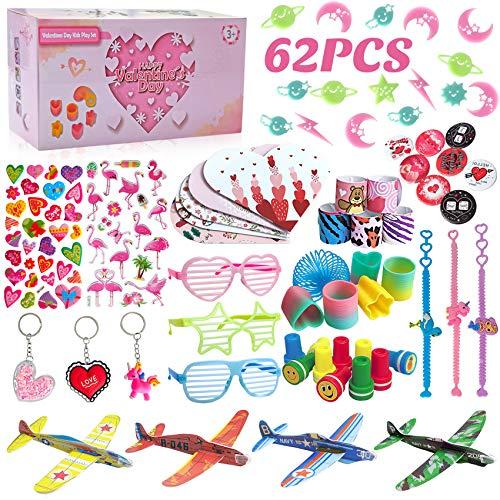 balnore 62 Stück Mitgebsel Set für Kinder, Kinder Party Mitgebsel Spielzeug, Kindergeburtstag Gastgeschenke, Pinata Füllung, Gleitflugzeuge, Schnapparmbänder, Stempel (Rosa-2)