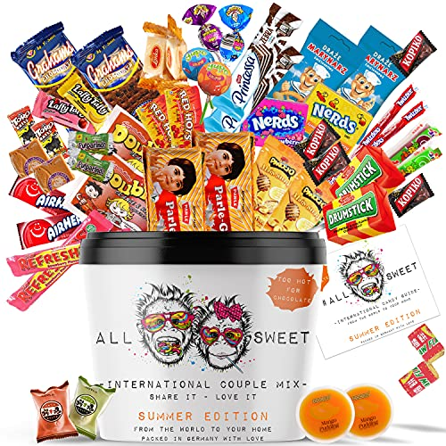 ALL SWEET 48 Teile Süßigkeiten aus Aller Welt Couple Edition Doppelte Menge zum Naschen zu Zweit, Amerikanische Süssigkeiten Box XXL, Süßigkeiten Großpackung die Mystery Box Summer Edition