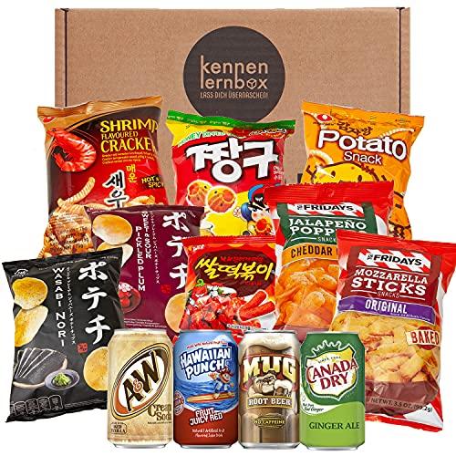 Snack Party Box | Kennenlernbox mit 12 beliebten Chips und Getränke aus den USA, Korea und Japan | Für Filmabende oder als Geschenkidee für besondere Anlässe