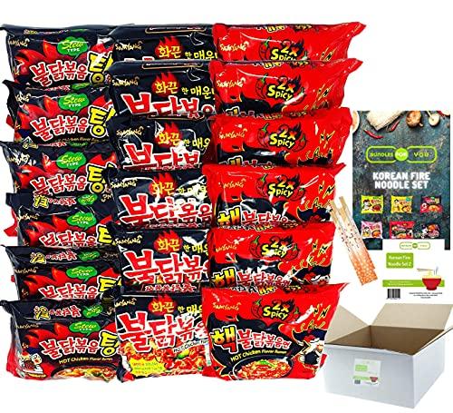BUNDLES FOR YOU - Samyang Hot Ramen Noodles - Schärfste Nudeln der Welt Set - Vorteilspack (18x140g) 6 statt 5 Portionen pro Sorte - Korean Fire Noodle Set 2