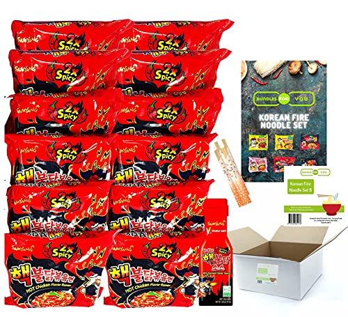 BUNDLES FOR YOU - Samyang Hot Ramen Noodles - Schärfste Nudeln der Welt - Vorteilspack (12x140g) 6 statt 5 Portionen pro Sorte & 1x 200ml Sauce extrem scharf - Korean Fire Noodle Set 8