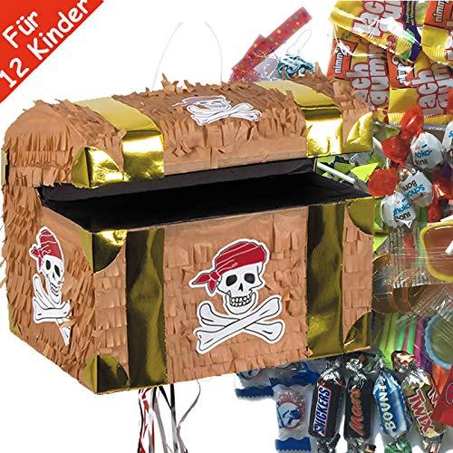 Pinata-Set * SCHATZTRUHE * mit Zug-Piñata + 100-teiliges Süßigkeiten-Füllung No.1 von Carpeta | Spanische Zugpinata für 12 Kinder | Tolles Piraten Spiel für Kindergeburtstag mit Schatzkiste