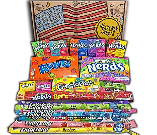Heavenly Sweets Nerds Geschenkbox - Amerikanische Retro-Süßigkeiten, Assorted, Rainbow und Mini Nerds, Laffy Taffy - Ideales Geschenk für Geburtstag, Weihnachten, Valentinstag - 28x19x4cm