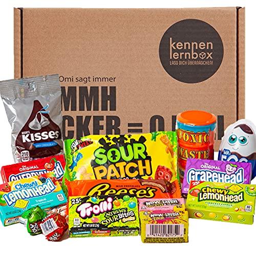 Süßes & Saures   Kennenlernbox mit 14 beliebten Süßigkeiten aus Amerika   Geschenkidee für besondere Anlässe wie Geburtstage