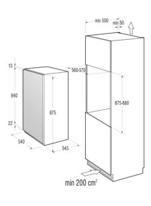 Skizze Kühlschrankmaße